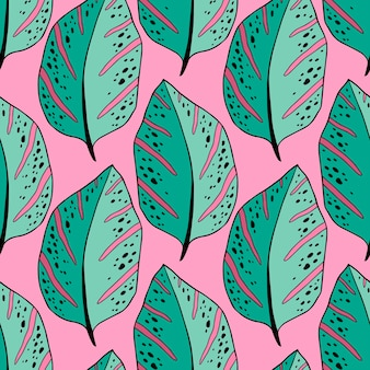 Тропический образец листьев в зеленых и розовых тонах. экзотический текстильный дизайн с вечнозелеными листьями. летняя оберточная бумага