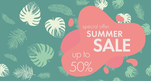Tropical leaves pattern summer sale hand drawn illustration