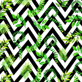 Tropical leaves pattern in watercolor style with stripes