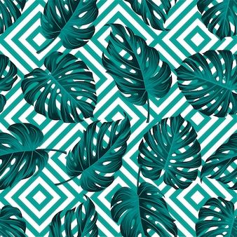 Tropical leaves pattern with geometric design
