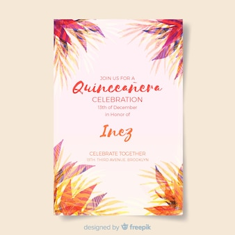 Tropical leaves quinceanera card template
