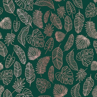 Tropical leaves rose gold  lines seamless pattern