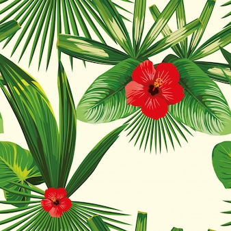 Tropical leaves seamless hibiscus seamless pattern