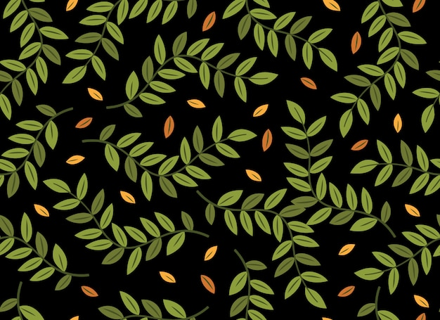 Tropical leaves seamless pattern on black