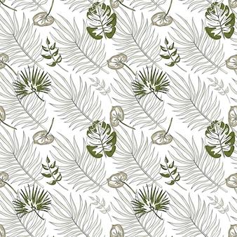 熱帯の葉のシームレスなパターン。実線のエキゾチックな花の背景。背景、包装紙、布、テキスタイル、ウェブ、壁紙、テクスチャの繰り返しベクトルイラスト。プレミアムベクトル