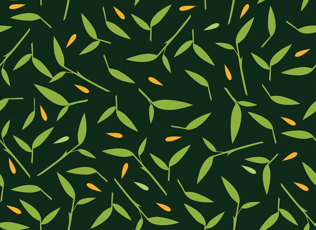 Tropical leaves seamless pattern on dark green background.