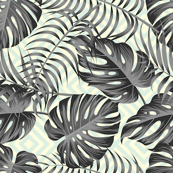 Tropical leaves seamless pattern design