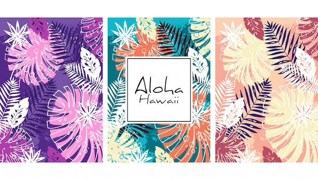 Tropical leaves seamless pattern, handdrawn watercolor vector illustration. monstera and palms print. summer design.