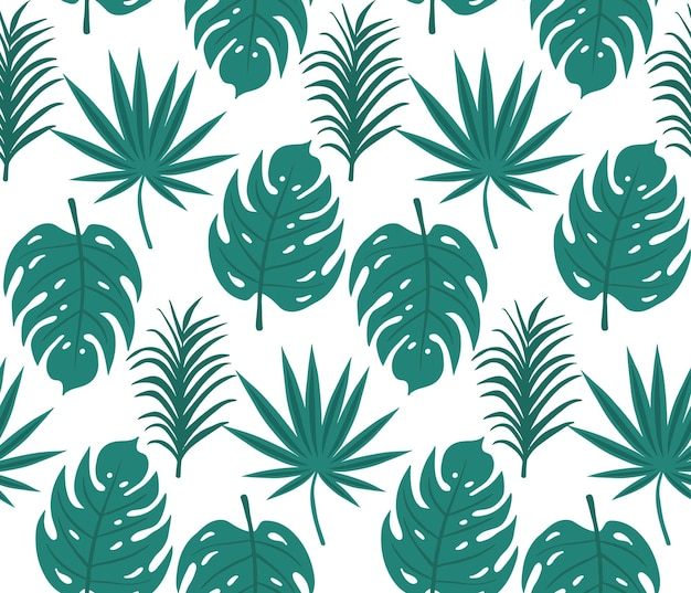 Tropical leaves seamless pattern, palm tree trendy print. floral repeating texture, background. vector illustration.