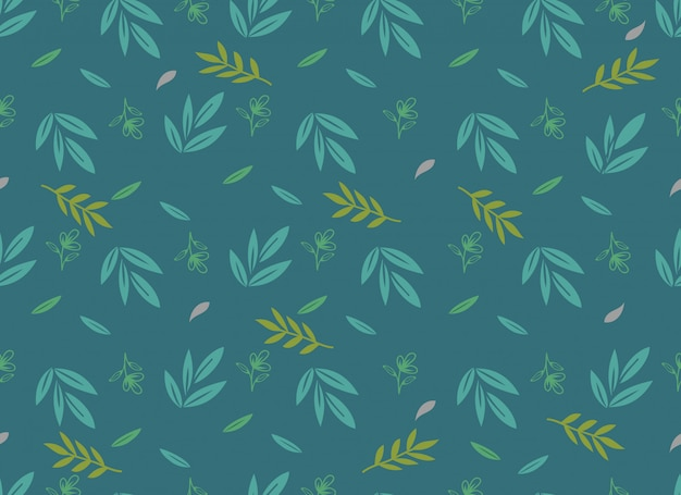 Tropical leaves seamless pattern, spring flower.