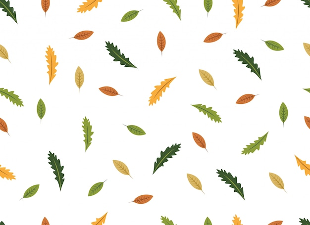 Tropical leaves seamless pattern on white background.