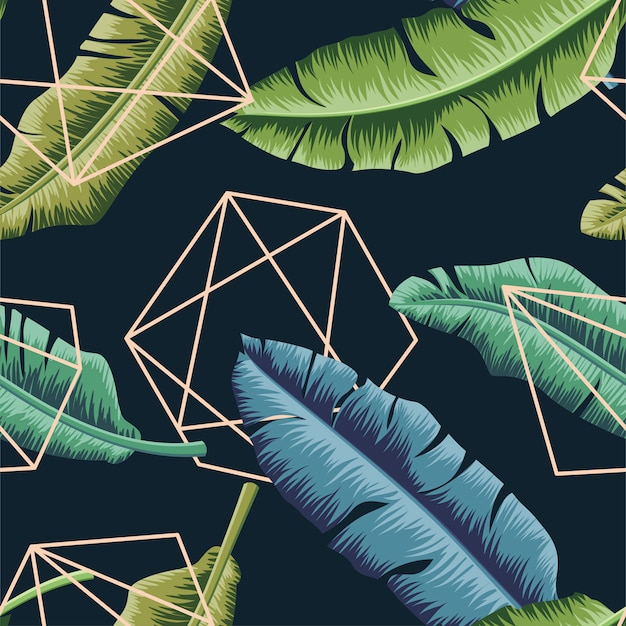 Tropical leaves seamless pattern with abstract geometric line