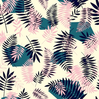 Tropical leaves seamless pattern with geometric elements