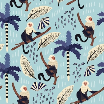 Tropical leaves seamless pattern with monkey.
