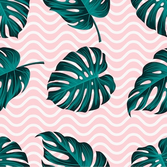 Tropical leaves seamless pattern with wavy lines