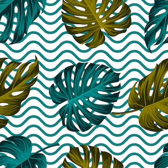 Tropical leaves seamless pattern, with wavy lines