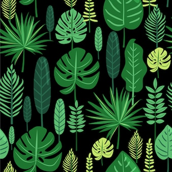 Tropical leaves seamless pattern.