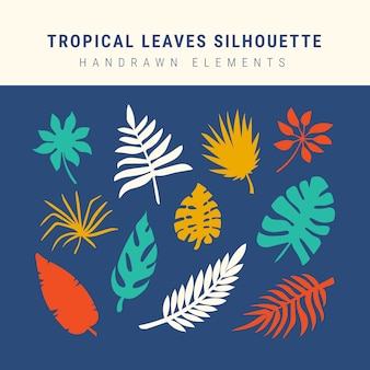 Tropical leaves silhouette collection