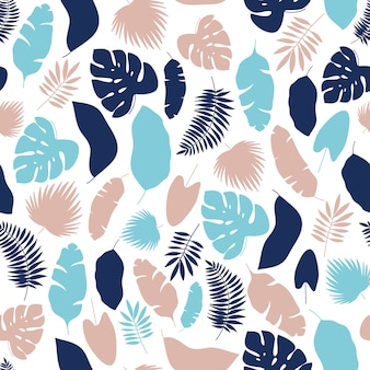 Tropical leaves silhouette pattern