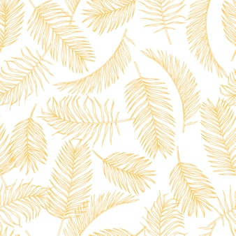 Tropical leaves sketch pattern. hand drawn gold palm tree foliage  exotic rainforest foliage  seamless pattern.