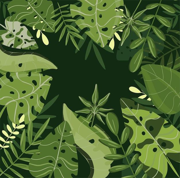 熱帯の葉春と夏の新鮮な輝きの背景ベクトル流行色