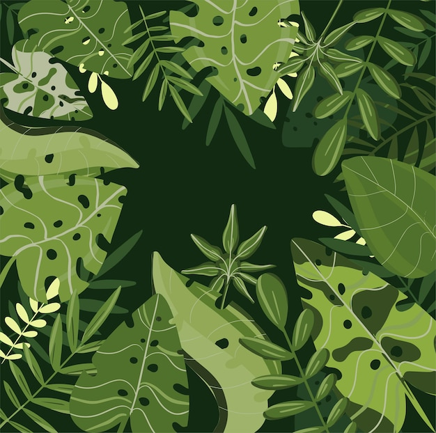 Tropical leaves spring and summer fresh and shine background  vector trendy colors