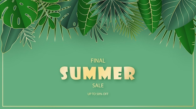 紙カットスタイルの熱帯の葉夏抽象販売バナー