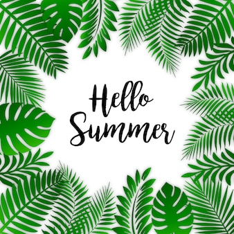 Tropical leaves summer background