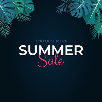 열 대 잎 여름 판매 배경 그림