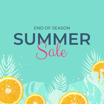 Tropical leaves summer sale background vector illustration eps10