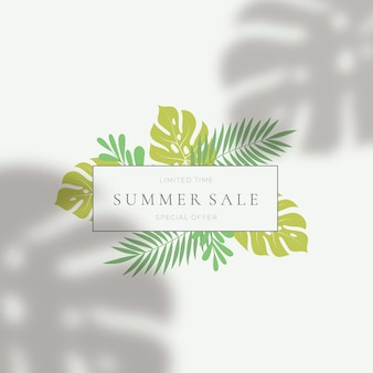 Tropical leaves summer sale card template.