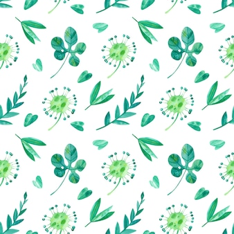 Tropical leaves and sundew watercolor seamless pattern.  exotic  greenery of jungle