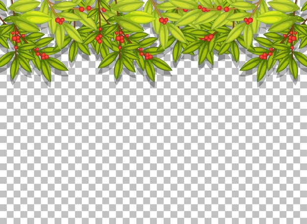 Tropical leaves on transparent background