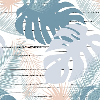 Tropical leaves trendy colors seamless pattern.