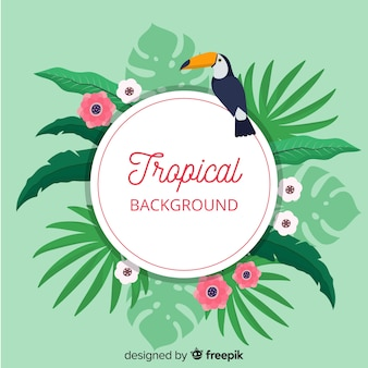 Tropical leaves and tucan background