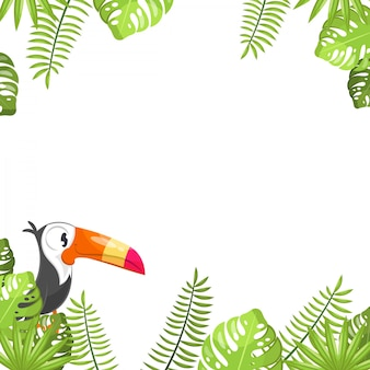Tropical leaves and tucans background