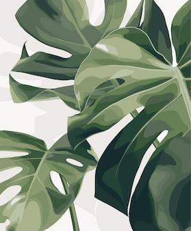 열 대 잎입니다. 벡터 패션 일러스트