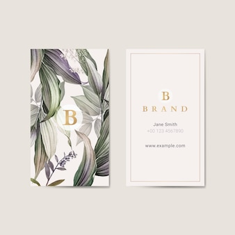 Tropical leaves vertical business card template