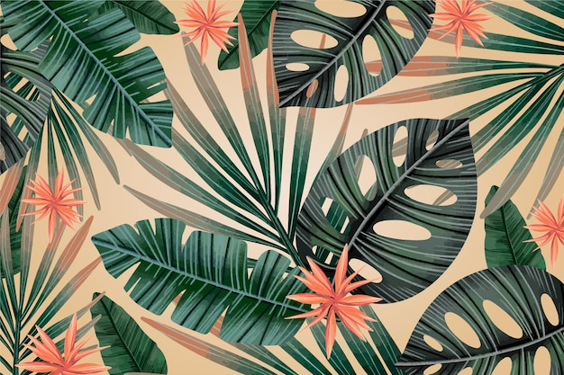 Tropical leaves vintage background