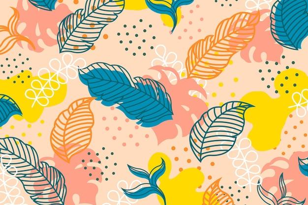 Tema di carta da parati con foglie tropicali