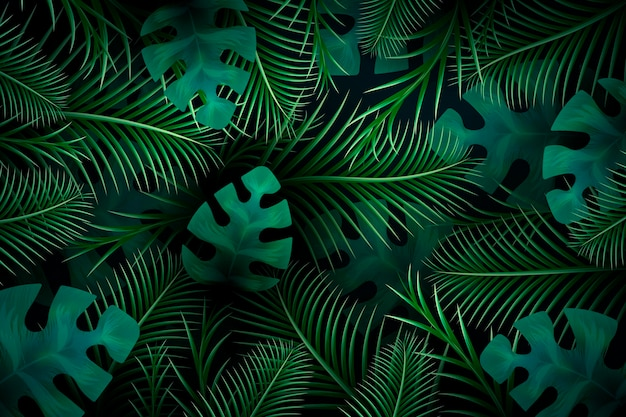 Tropical leaves wallpaper for zoom