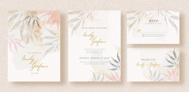 Tropical leaves watercolor painting with splash background on wedding invitation card