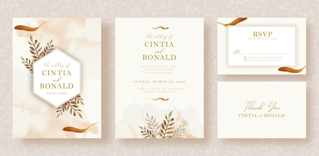 Tropical leaves watercolor painting with splash and frame on wedding invitation background