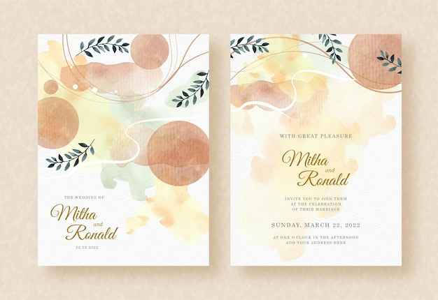 Tropical leaves watercolor with shapes on splash wedding invitation background