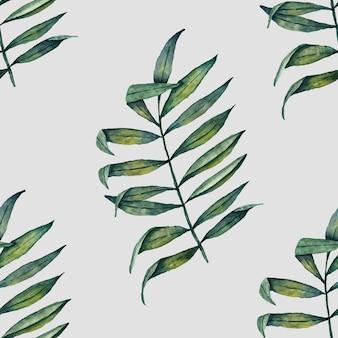 열 대 잎 수채화 패턴