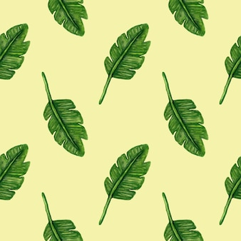 Tropical leaves watercolour seamless pattern