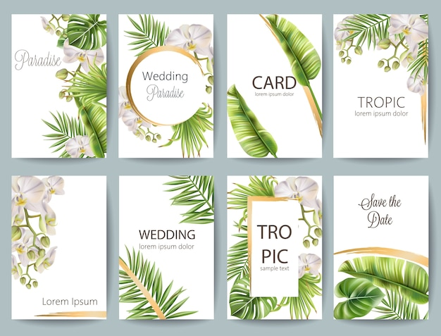Tropical leaves wedding greeting card set with flowers and place for text