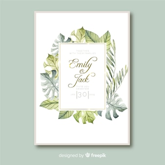 Tropical leaves wedding invitation template watercolor style