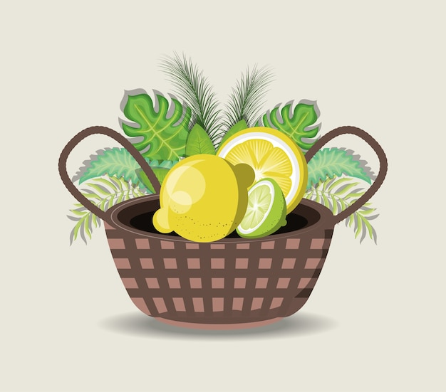 Tropical leaves with basket with lemons