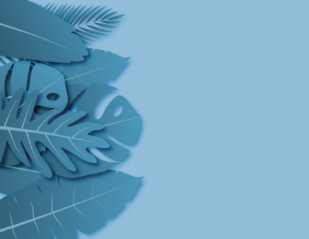 Tropical leaves with blue green pastel colors paper cut style on background